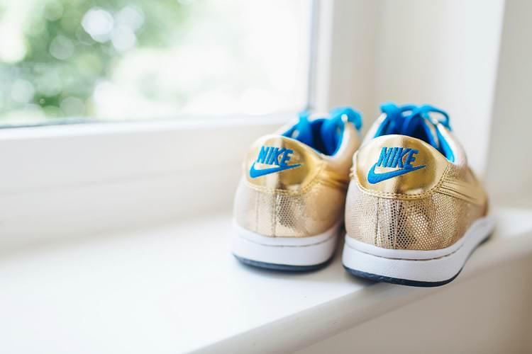Gold Nike Trainers Bride Bridal Creative Warehouse Eclectic Wedding http://sarahbethphoto.co.uk/
