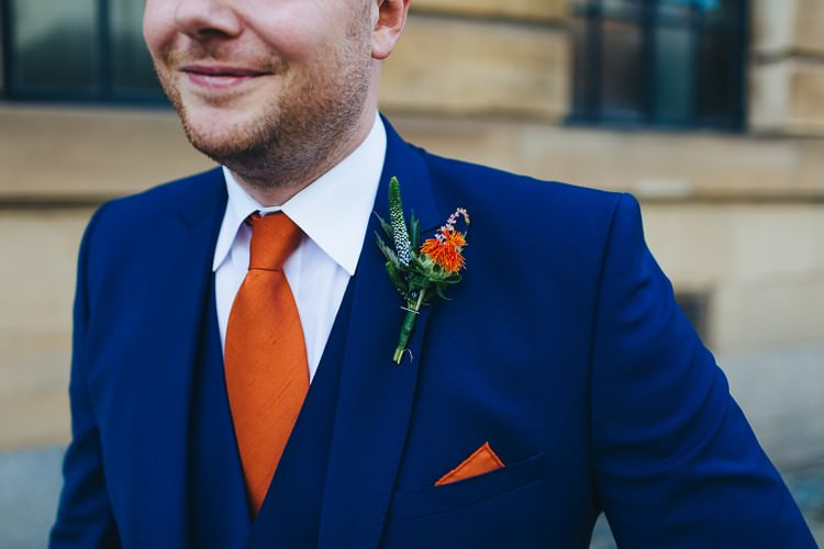 Orange Buttonhole Groom Tie Pocket Square Creative Warehouse Eclectic Wedding http://sarahbethphoto.co.uk/