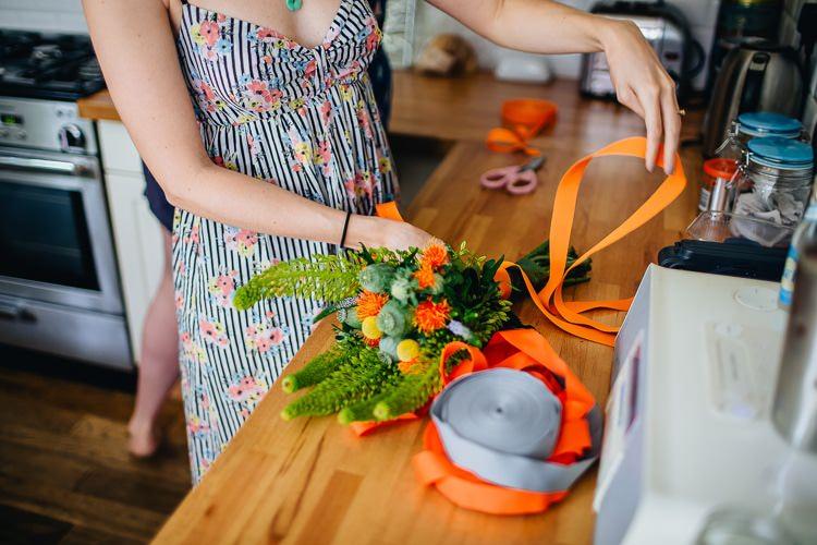 DIY Bouquet Ribbon Orange Creative Warehouse Eclectic Wedding http://sarahbethphoto.co.uk/