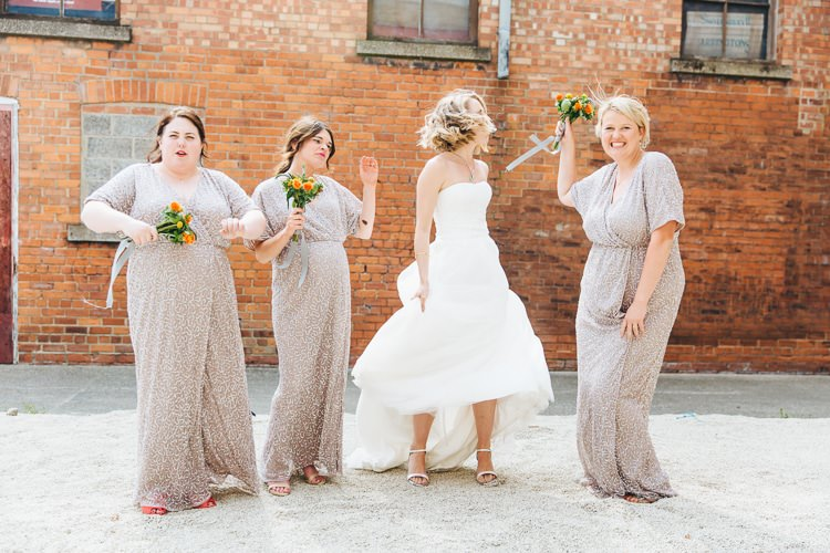 Grey Sparkly Sequin Long Dresses Bridesmaids Creative Warehouse Eclectic Wedding http://sarahbethphoto.co.uk/