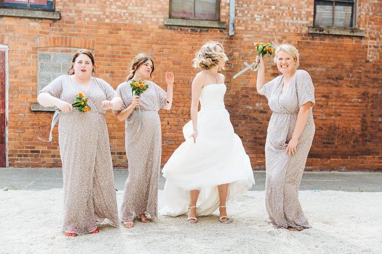 Grey Sparkly Sequin Long Dresses Bridesmaids Creative Warehouse Eclectic Wedding http://sarahbethphoto.co.uk/