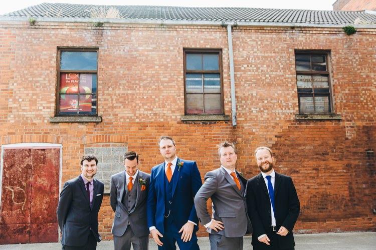 Grey Blue Groom Groomsmen Suits Orange Ties Creative Warehouse Eclectic Wedding http://sarahbethphoto.co.uk/