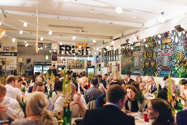 Fruit Hull Festoon Lights Creative Warehouse Eclectic Wedding http://sarahbethphoto.co.uk/