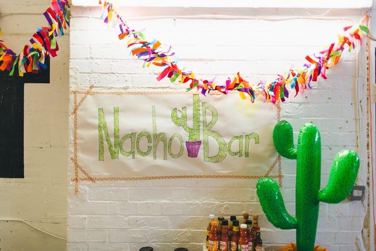 Nacho Bar Creative Warehouse Eclectic Wedding http://sarahbethphoto.co.uk/