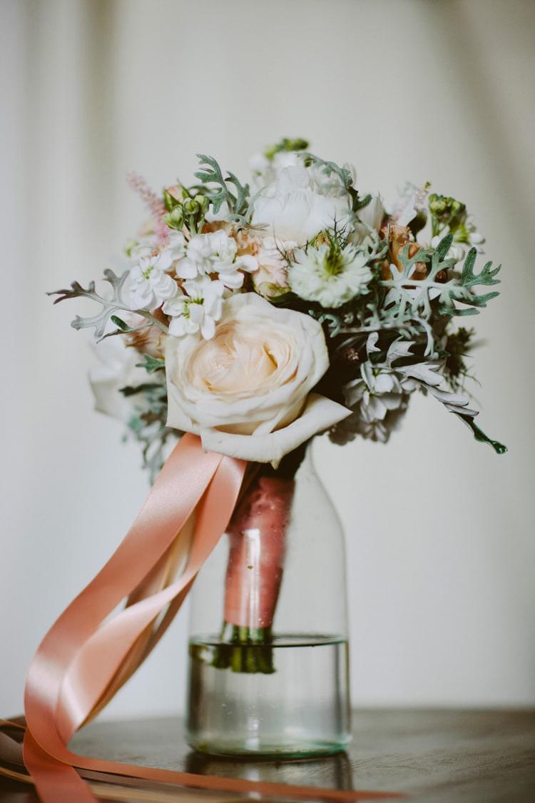Bouquet Flowers Bride Bridal Peach White Rose Ribbons Romantic Pastel Countryside Wedding http://davidjenkinsphotography.com/