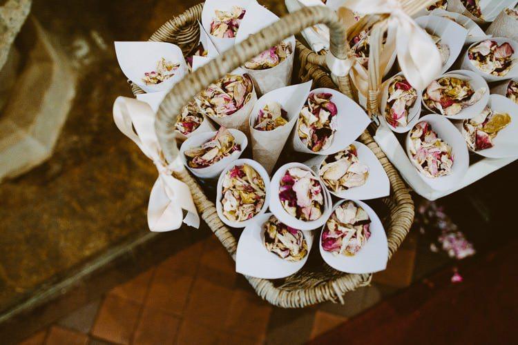 Petal Confetti Cones Basket Romantic Pastel Countryside Wedding http://davidjenkinsphotography.com/