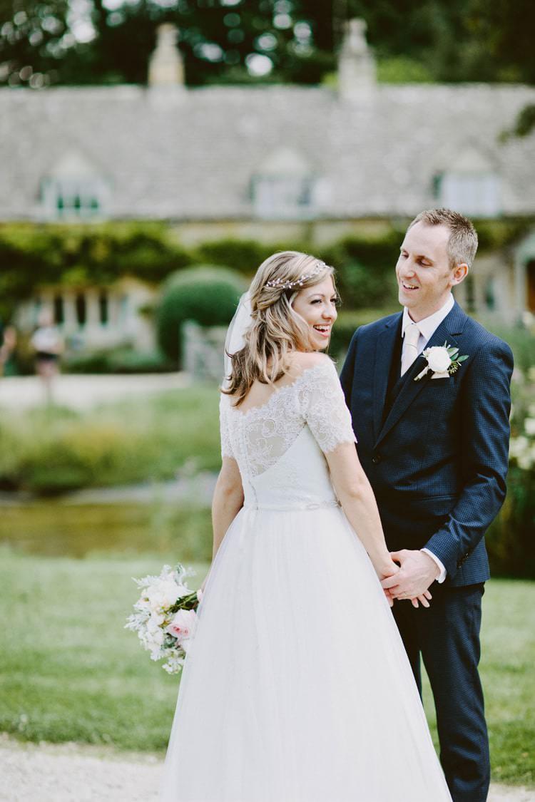 Augusta Jones Dress Gown Bride Bridal Off Shoulder Lace Sleeves V Dip Back Ribbon Sash Romantic Pastel Countryside Wedding http://davidjenkinsphotography.com/