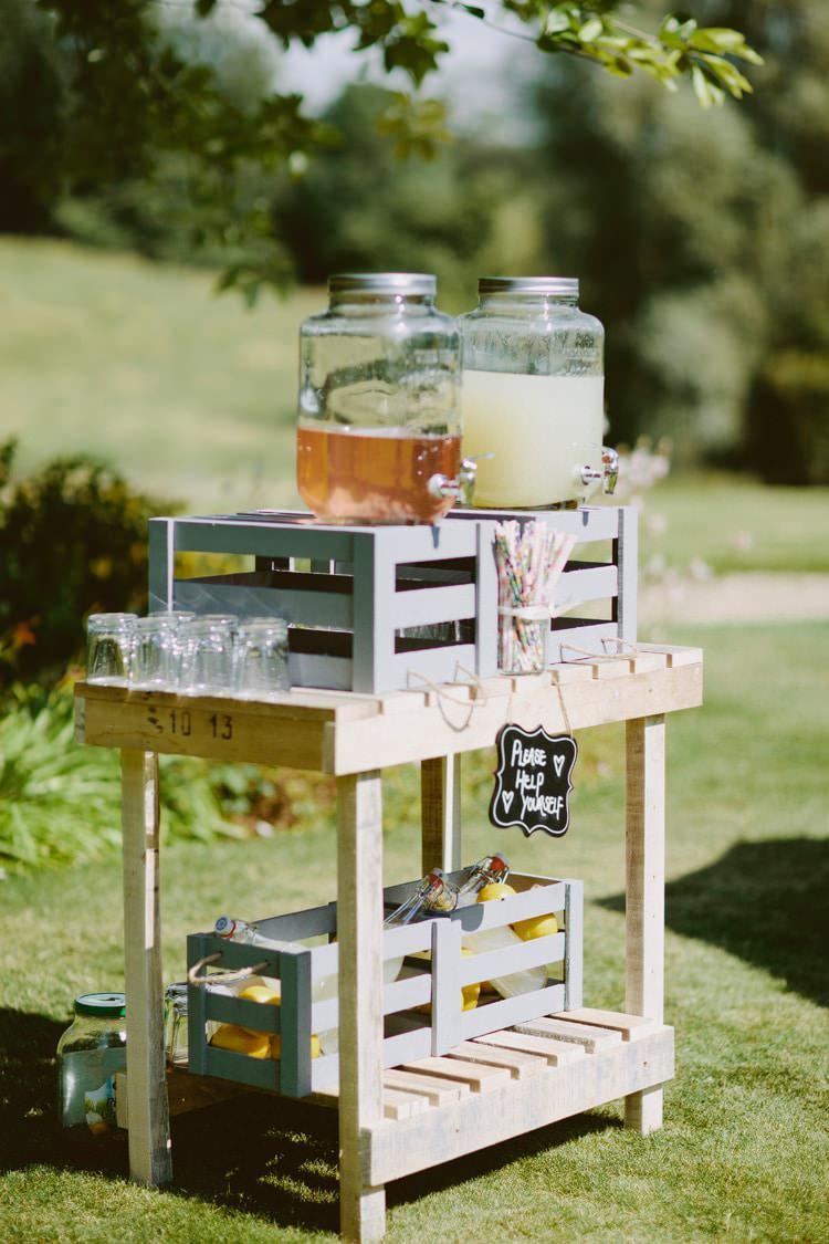 Drink Station Bar Cart Dispensers Straws Romantic Pastel Countryside Wedding http://davidjenkinsphotography.com/