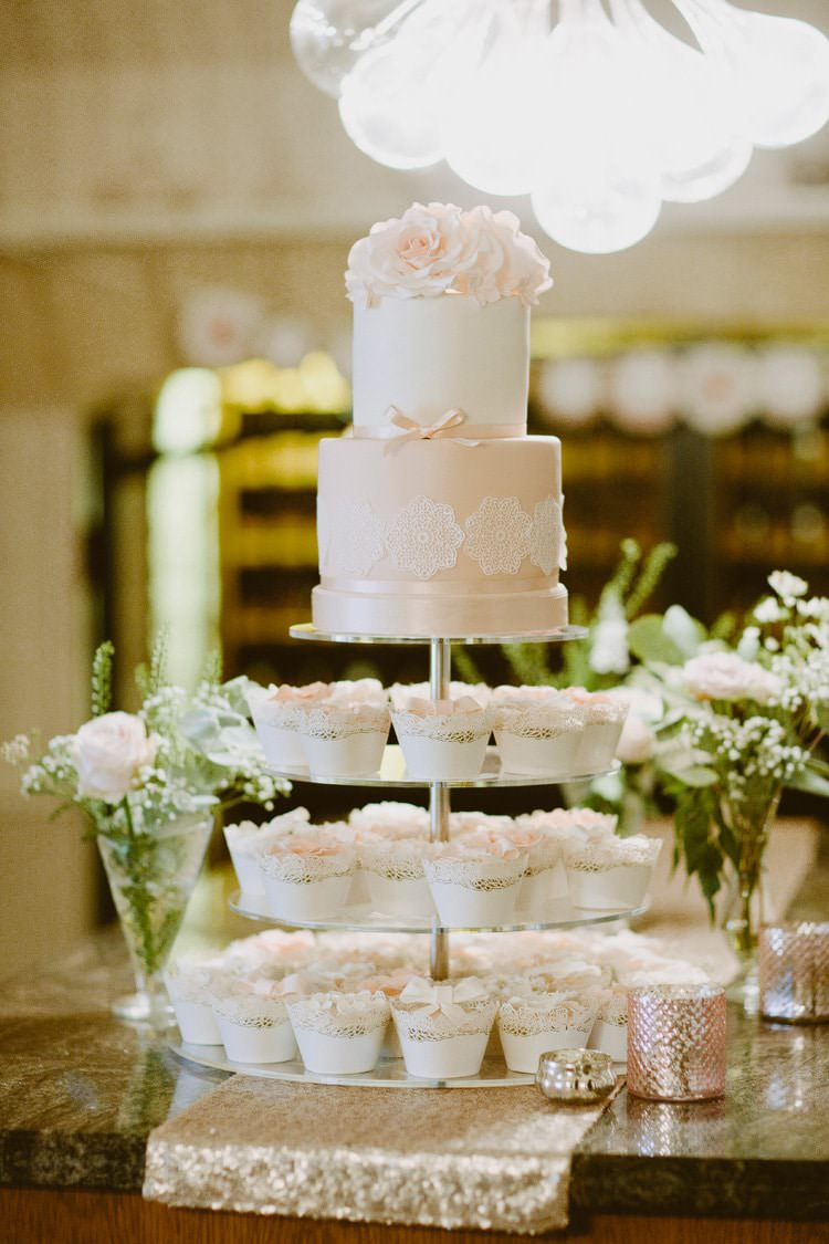 Peach Pink Blush Cake Cupcakes Romantic Pastel Countryside Wedding http://davidjenkinsphotography.com/