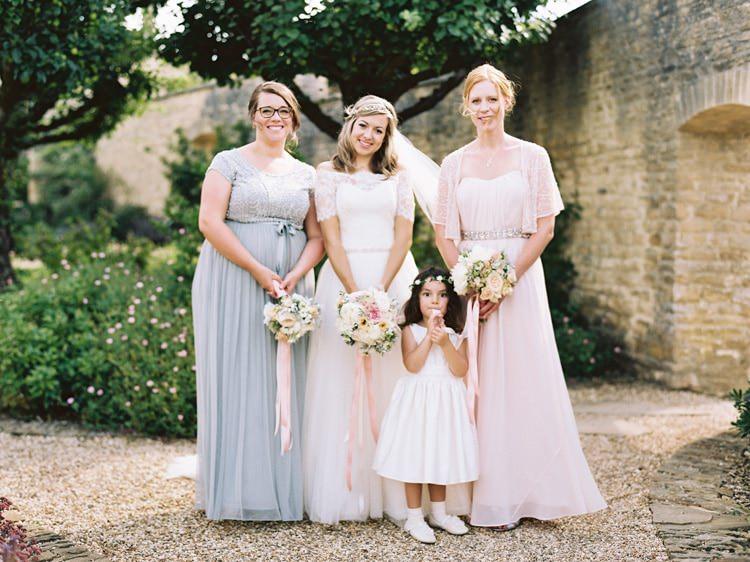 Mismatched Bridesmaids Pink Grey Long Elegant Dresses Romantic Pastel Countryside Wedding http://davidjenkinsphotography.com/