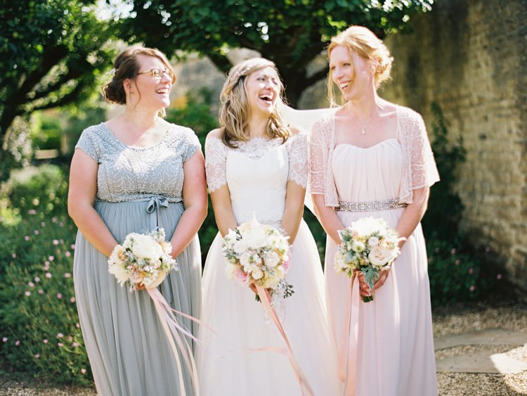 Mismatched Bridesmaids Pink Grey Long Elegant Dresses Ribbon Bouquets Flowers Romantic Pastel Countryside Wedding http://davidjenkinsphotography.com/