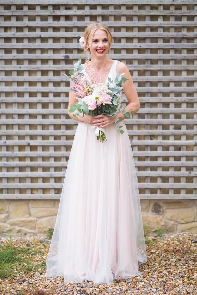 Tamsin Catherine Deane Blush Dress Gown Bride Bridal Tulle Fun DIY Back Garden Party Wedding http://www.motiejus.com/