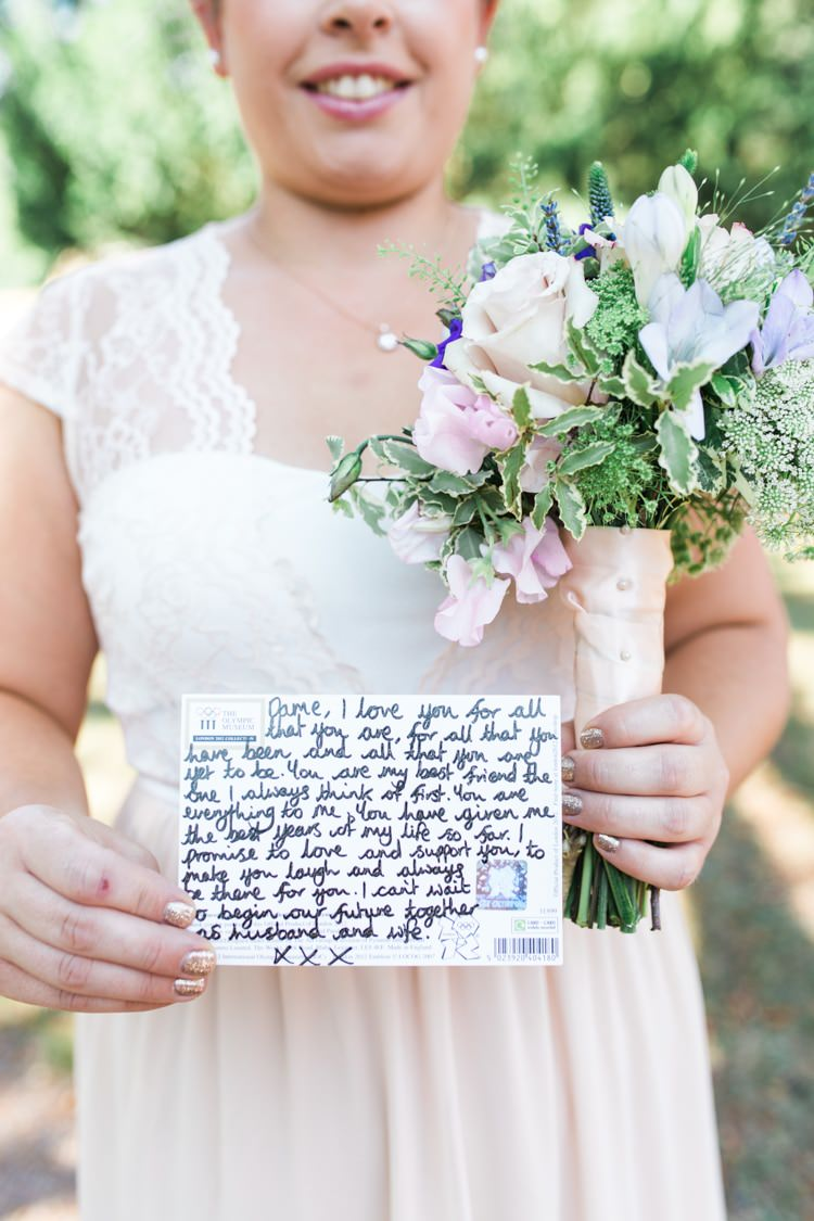Card Postcard Message Bride Groom Bridesmaid Fresh Pretty Humanist Wedding http://summerlilystudio.com/