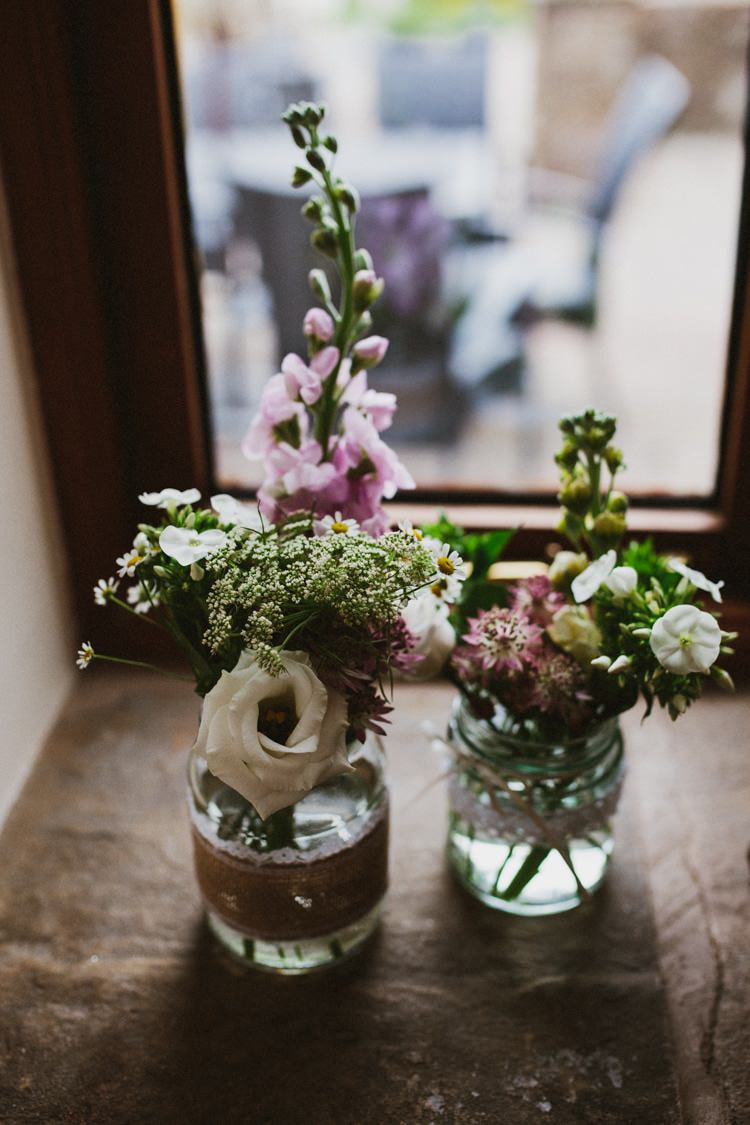 Flowers Jars Lace Hessian Burlap Floral Rustic Country Barn Wedding http://www.allymphotography.com/