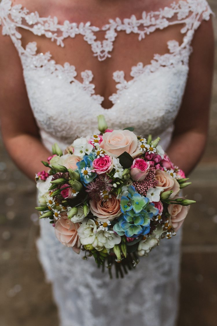 Bouquet Flowers Bride Bridal Rose Pink Blue Hydrangea Daisy Floral Rustic Country Barn Wedding http://www.allymphotography.com/