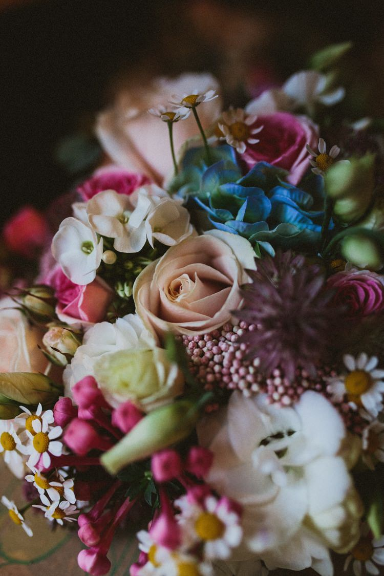 Flowers Pink Blue Diasy Bouquet Bride Bridal Floral Rustic Country Barn Wedding http://www.allymphotography.com/
