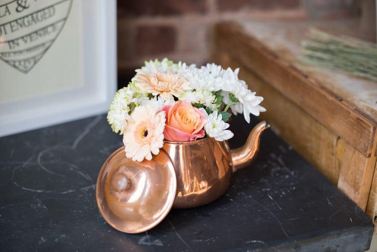 Tea Pot Flowers Copper Dusky Lilac Grey Rustic Barn Wedding http://www.kayleighpope.co.uk/