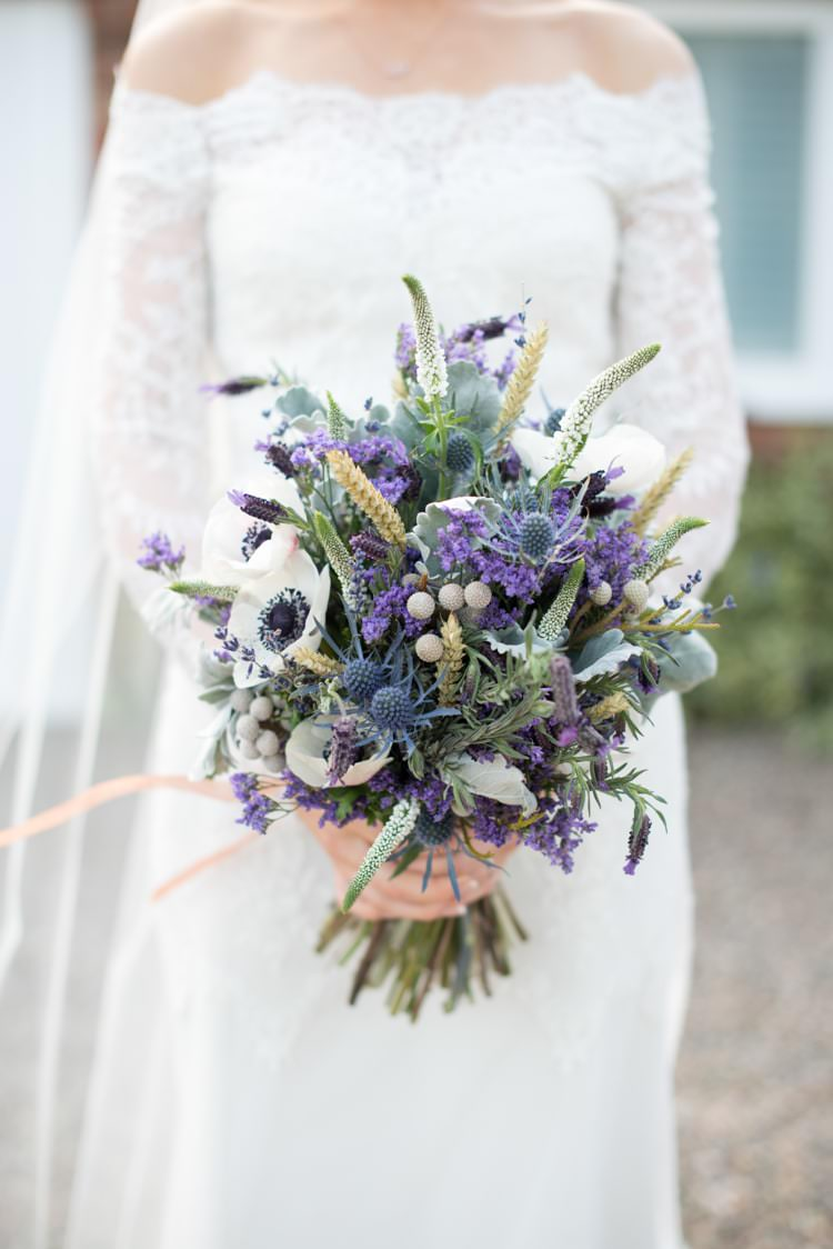 Bouquet Flowers Bride Bridal Spring Lavender Anemone Wheat Purple Thistle Copper Dusky Lilac Grey Rustic Barn Wedding http://www.kayleighpope.co.uk/