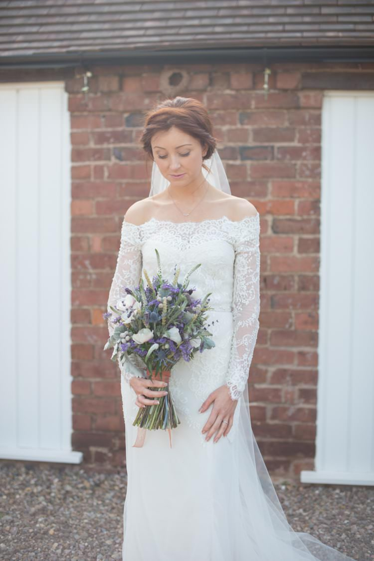 Off Shoulder Bardot Lace Sleeves Dress Gown Bride Bridal Copper Dusky Lilac Grey Rustic Barn Wedding http://www.kayleighpope.co.uk/