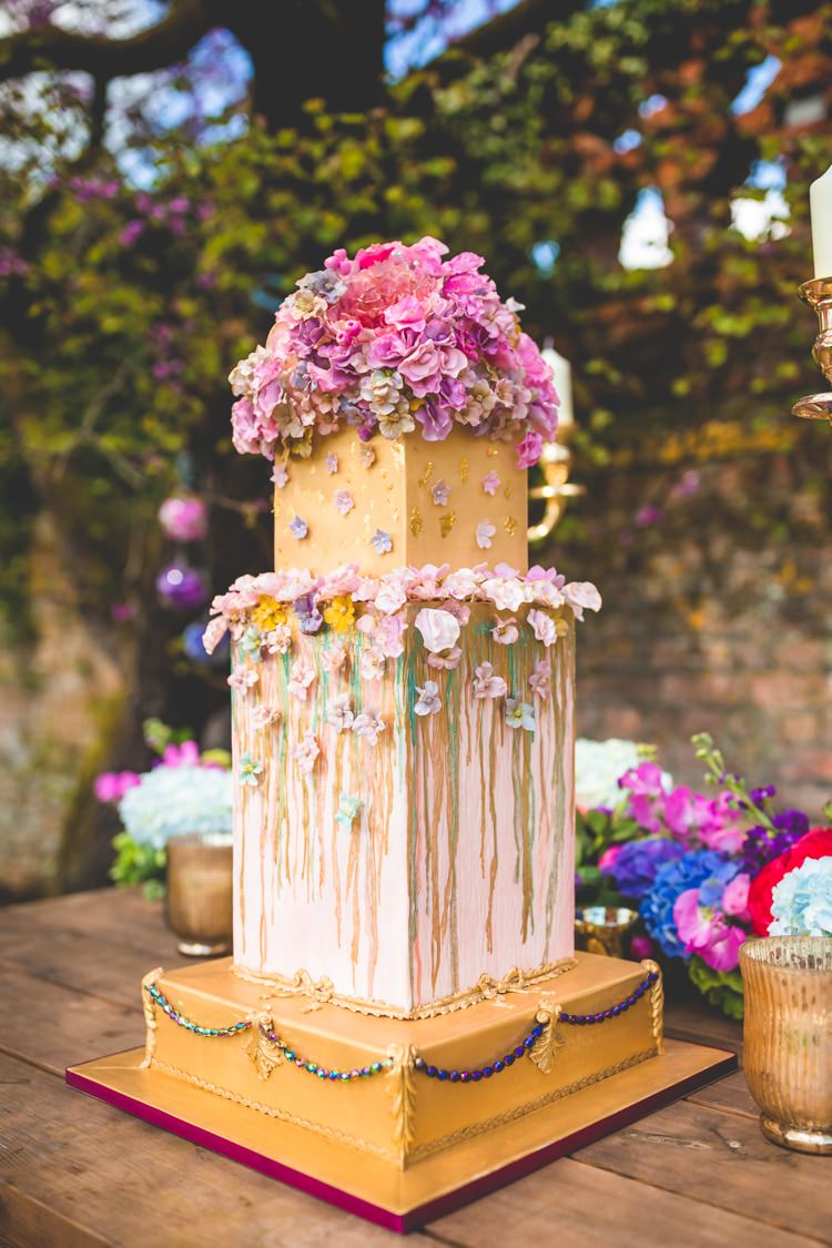 Cake Square Metallic Gold Drip Flowers Pink Summer Brights Jewelled Glamour Wedding Ideas http://realsimplephotography.net/