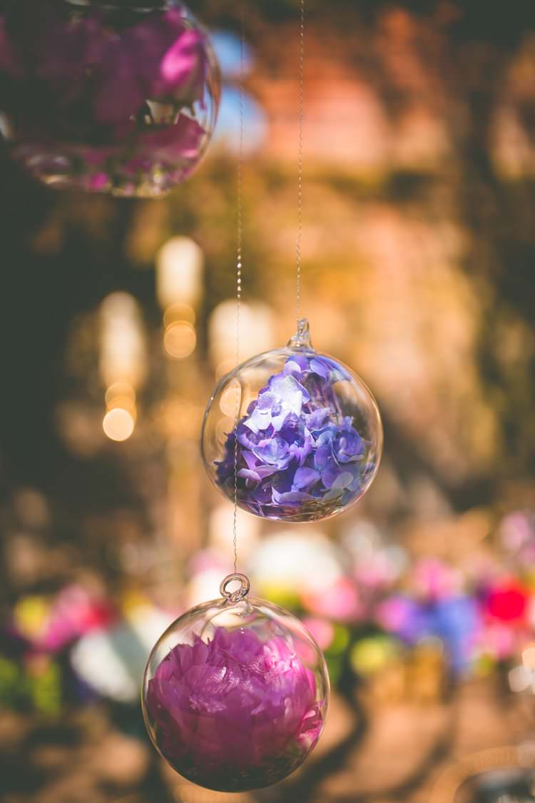 Hanging Glass Baubles Flowers Pink Blue Summer Brights Jewelled Glamour Wedding Ideas http://realsimplephotography.net/