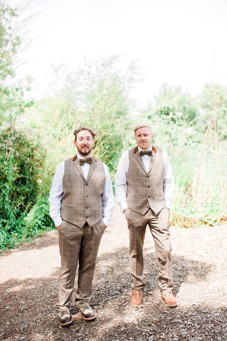 Tweed Waistcoat Groom Groomsmen Chinos Bow Ties Multicoloured DIY Rustic Wedding http://vickylamburn.com/