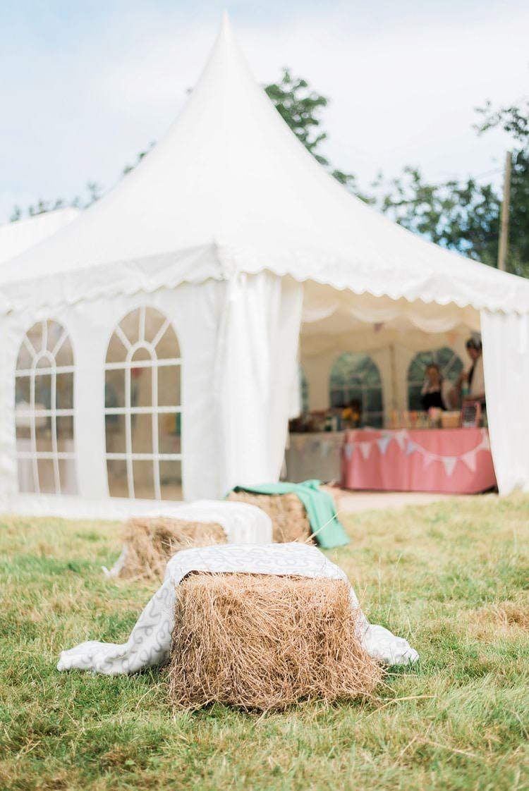 Hay Bale Seating Multicoloured DIY Rustic Wedding http://vickylamburn.com/