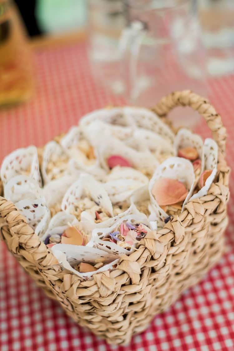 Confetti Cones Basket Paper Petals Multicoloured DIY Rustic Wedding http://vickylamburn.com/