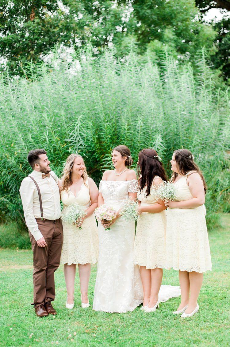 Short Yellow Lace Bridesmaid Dresses Multicoloured DIY Rustic Wedding http://vickylamburn.com/