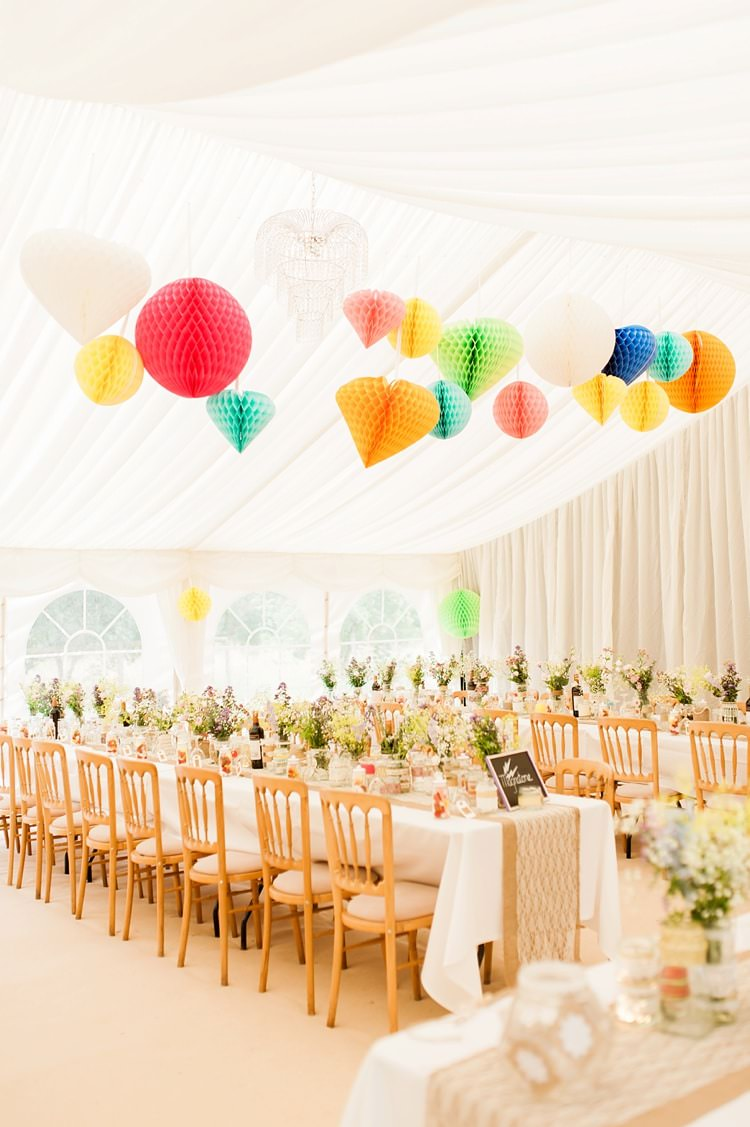 Marquee Lanterns Honeycomb Long Tables Flowers Multicoloured DIY Rustic Wedding http://vickylamburn.com/