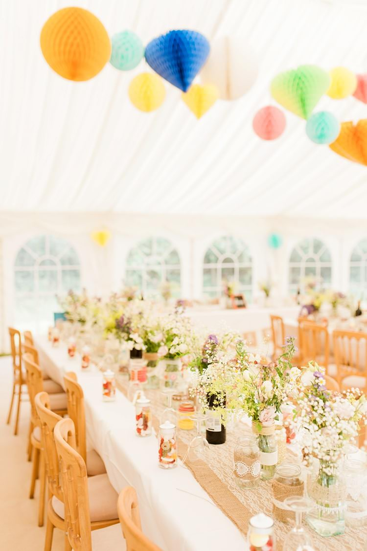 Long Tables Flowers Hessian Lace Lanterns Marquee Multicoloured DIY Rustic Wedding http://vickylamburn.com/
