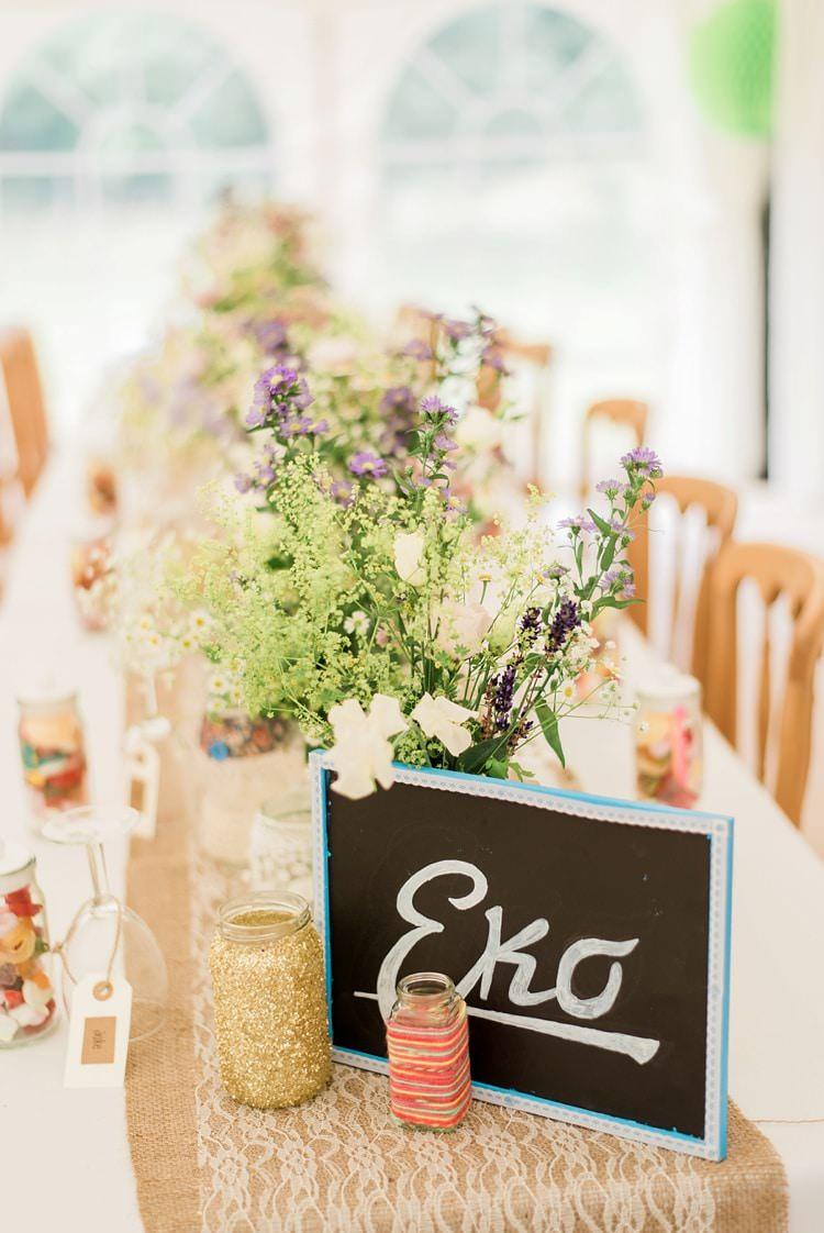 Black Chalk Board Table Name Glitter Jars Multicoloured DIY Rustic Wedding http://vickylamburn.com/