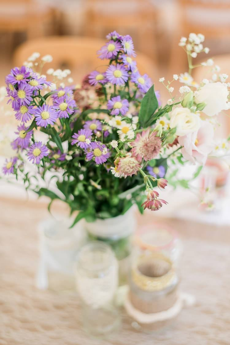 Natural Wild Flowers Jars Purple White Table Centrepiece Decor Multicoloured DIY Rustic Wedding http://vickylamburn.com/