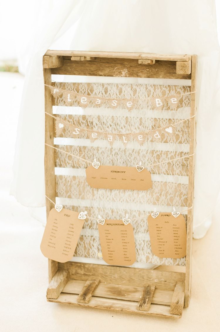 Crate Lace Bunting Table Seating Plan Chart Multicoloured DIY Rustic Wedding http://vickylamburn.com/