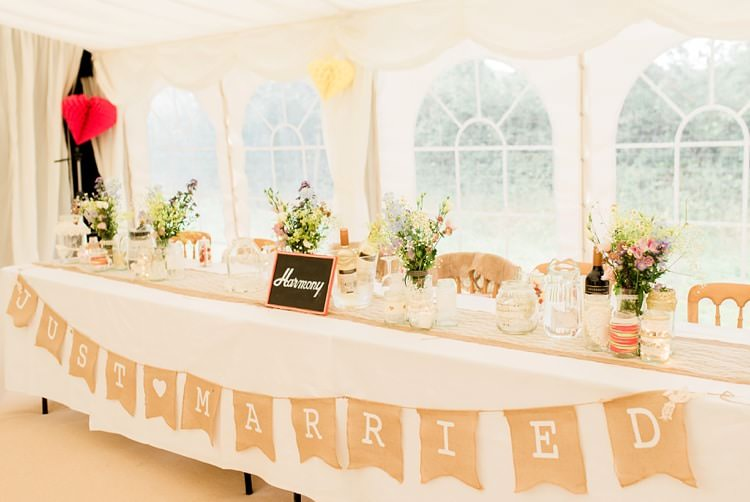Top Table Just Married Bunting Multicoloured DIY Rustic Wedding http://vickylamburn.com/