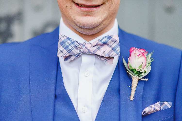 Check Blue Bow Tie Groom Rose Outdoorsy Nature Pretty Pink Wedding http://whitestagweddings.com/