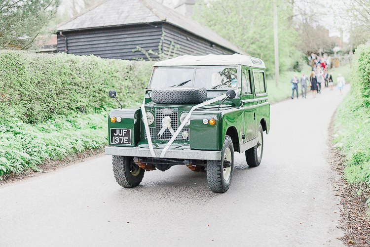 Land Rover Car Transport Outdoorsy Nature Pretty Pink Wedding http://whitestagweddings.com/