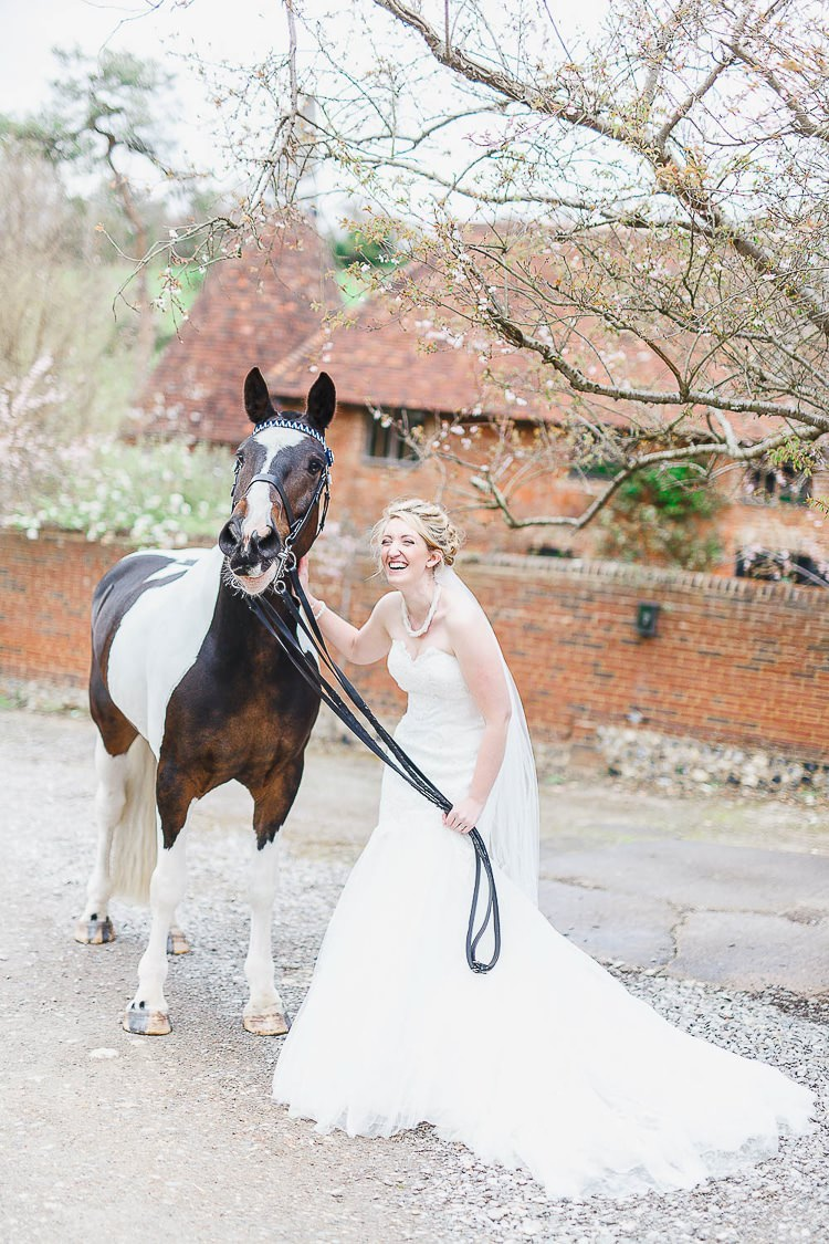 Bride Horse Pet Outdoorsy Nature Pretty Pink Wedding http://whitestagweddings.com/