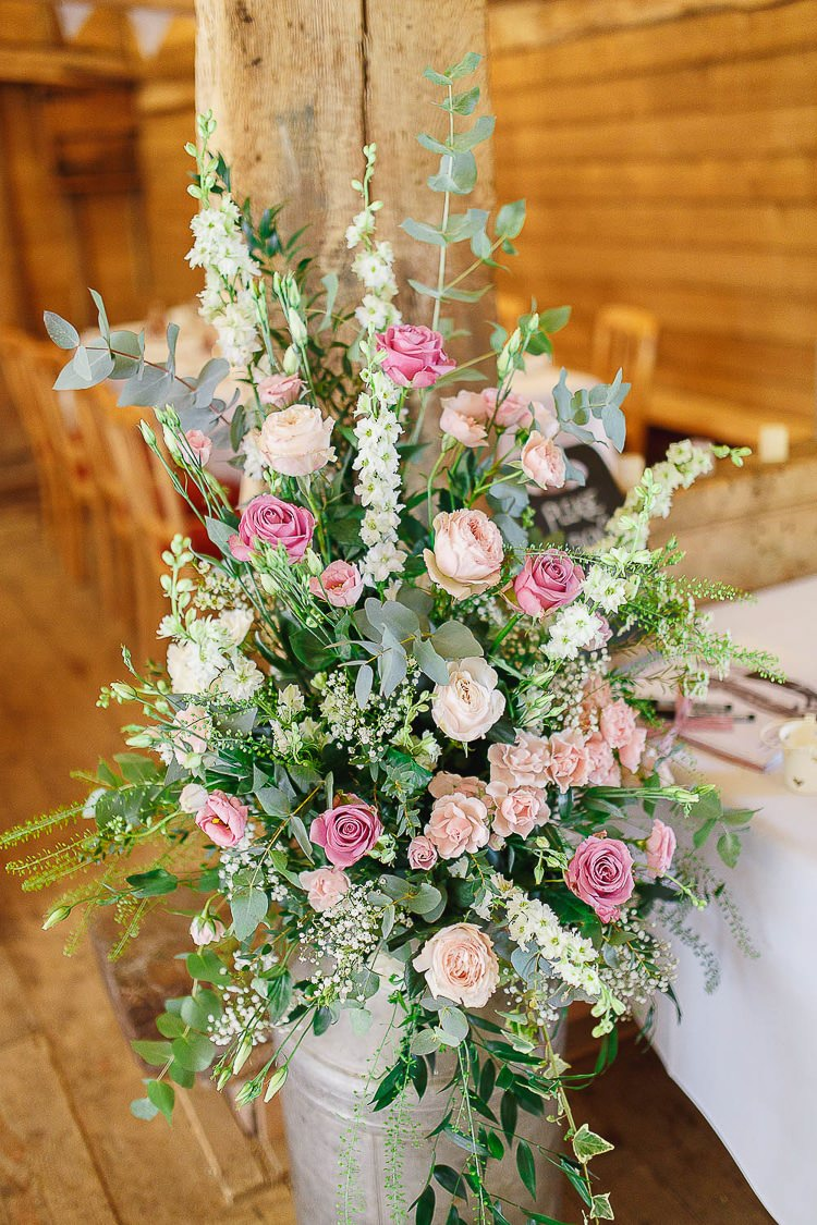 Flowers Urns Jug Roses Greenery Foliage Outdoorsy Nature Pretty Pink Wedding http://whitestagweddings.com/