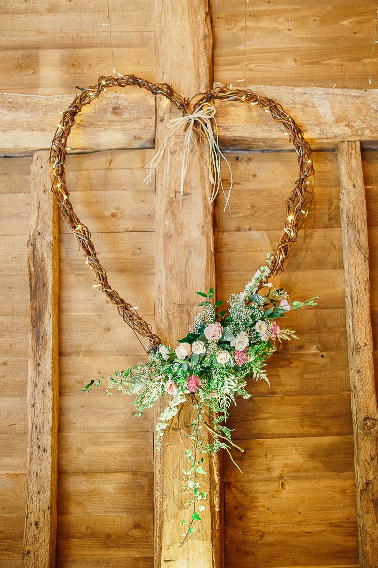 Willow Heart Fairy Light Flowers Outdoorsy Nature Pretty Pink Wedding http://whitestagweddings.com/
