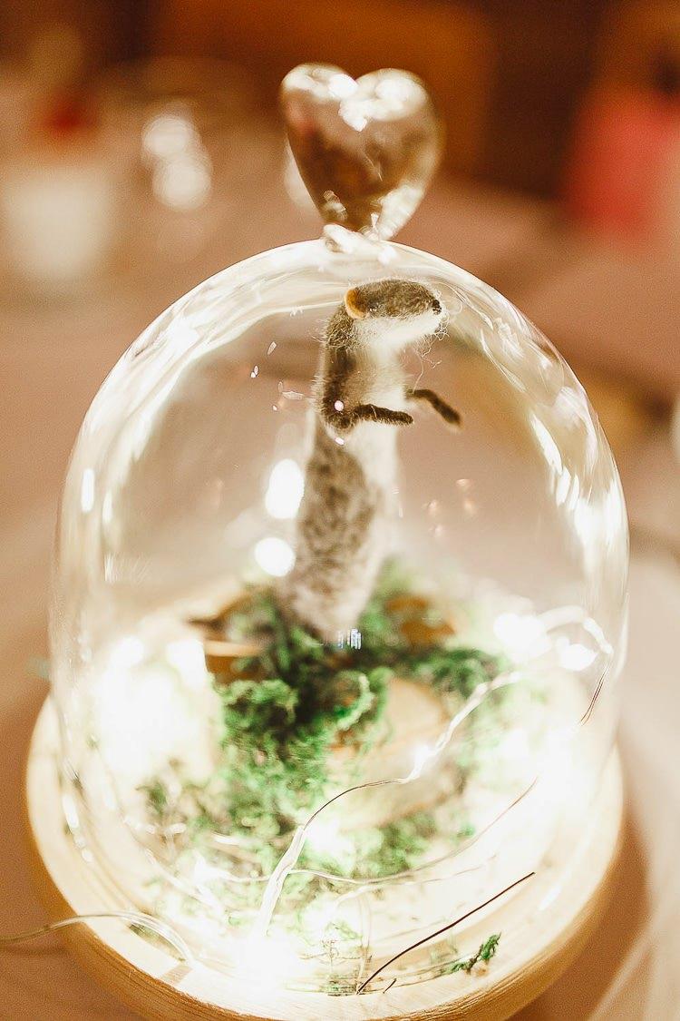 Bell Jar Felt Animals Mice Decor Outdoorsy Nature Pretty Pink Wedding http://whitestagweddings.com/
