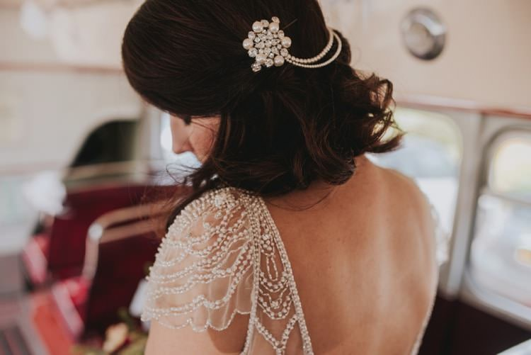 Hair Bride Bridal Up Do Accessory Sleeve Dress Beads Whimsical Bright Village Hall Wedding http://www.beckyryanphotography.co.uk/