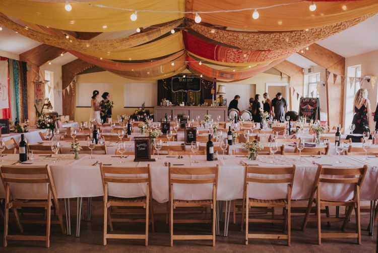 Drapes Swags Festoon Lights Colourful Whimsical Bright Village Hall Wedding http://www.beckyryanphotography.co.uk/