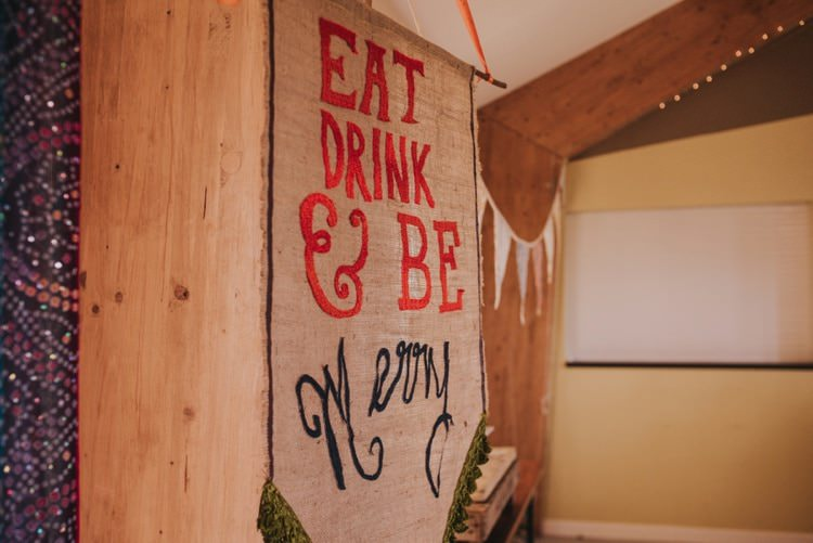 Banner Fabric Quirky Eat Drink Whimsical Bright Village Hall Wedding http://www.beckyryanphotography.co.uk/