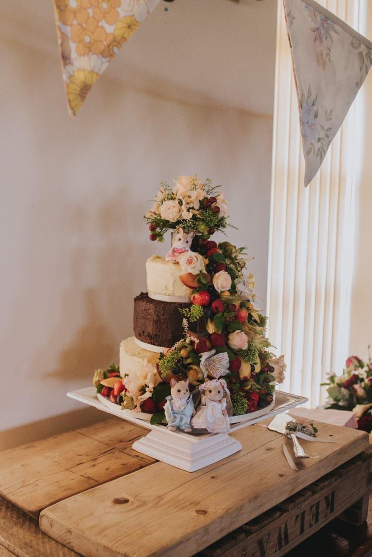 Naked Cake Flowers Whimsical Bright Village Hall Wedding http://www.beckyryanphotography.co.uk/