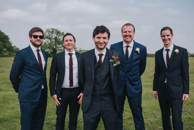 Reiss Suit Groom Burgundy Tie Whimsical Bright Village Hall Wedding http://www.beckyryanphotography.co.uk/