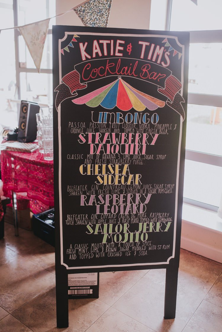 Cocktail Bar Sign Whimsical Bright Village Hall Wedding http://www.beckyryanphotography.co.uk/