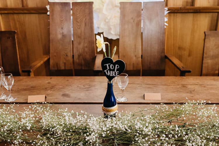 Tob Table Bottle Sign Baby Breath Gyp Gypsophila Creative DIY Yellow Wedding http://elainewilliamsphoto.com/