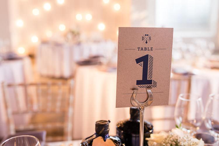 Table Number Stationery Kraft Brown Paper Urban London Stylish Navy White Wedding http://karibellamy.com/