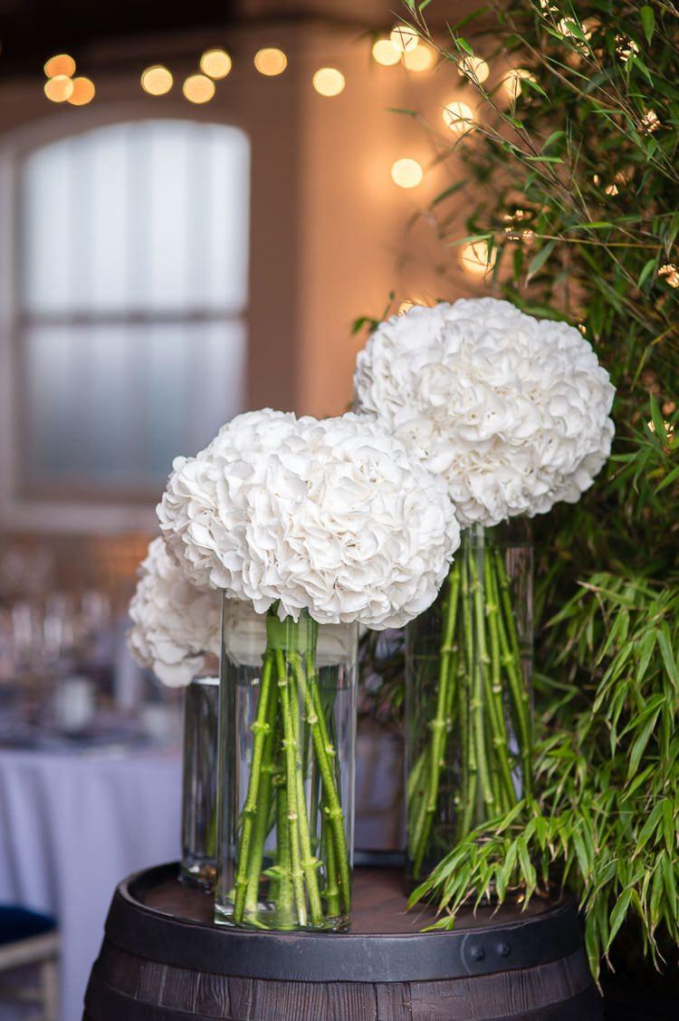 White Hydrangea Flowers Modern Vases Urban London Stylish Navy White Wedding http://karibellamy.com/